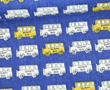 Feste Baumwolle - Schulbus - School Kids - Tréfle - Kokka - Royalblau