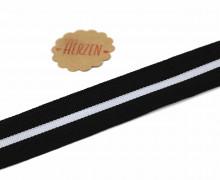 1 Meter Ripsband - Köperband - Streifen - 30mm - Schwarz/Hellgrau
