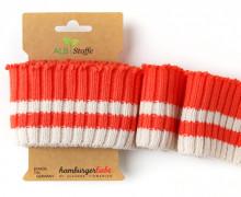 Bio-Bündchen - Cozy  Stripes - This Summer - Cuff Me - Hamburger Liebe - Orange/Weiß