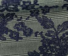 Leichter Jacquard - Karo - Kariert - Blumen - Cremebeige/Schwarz