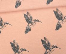 Feste Baumwolle - Dekostoff - Vögel - Birds - Apricot