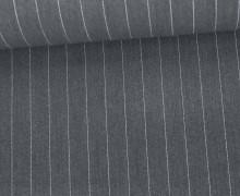 Fashionstoff - Blusenstoff - Nadelstreifen - 15mm - Dunkelgrau