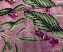 Feste Baumwolle - Blumen - Blüten - Blätter - Altrosa