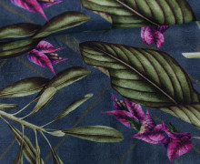 Feste Baumwolle - Blumen - Blüten - Blätter - Blaugrau