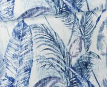 Feste Baumwolle - Palmenwedel - Palme - Blätter - Weiß/Blau