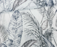 Feste Baumwolle - Palmenwedel - Palme - Blätter - Weiß/Grau