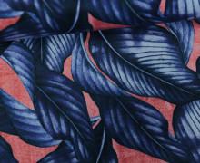 Feste Baumwolle - Leaves - Blätter - Pastellrot