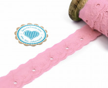 1m Spitzenborte - Bordüre - Stickerei - 25mm - Blümchen - Rosa