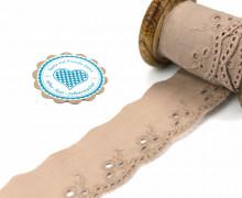 1m Spitzenborte - Bordüre - Stickerei - 40mm - Kreise - Blätter - Sand