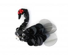 1 Aufnäher - Black Swan - Schwan - Strasssteine - Perlen - Schwarz