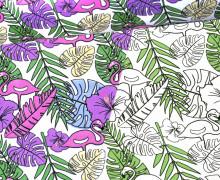 Jersey - Zauberstoff - Flamingo - Palmenwedel - Blüten - Flower - Weiß