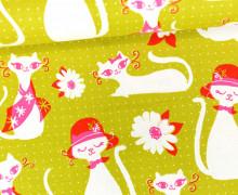 Stoff - Katze - Catlady - Beauty Shop - Sarah Watts/Melody Miller - Grüngelb