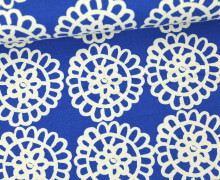 Feste Baumwolle - Blumen - Kreise - See Design - Kokka - Royalblau