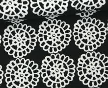 Feste Baumwolle - Blumen - Kreise - See Design - Kokka - Schwarz