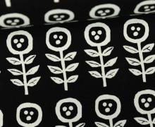 Feste Baumwolle - Little Flowers - Blumen - Grafisch - Tréfle - Kokka - Schwarz