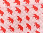 Feste Baumwolle - Doubleface - Bär - Wellen - Animal Tracks -  Kokka - Weißrot Meliert/Rot