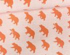 Feste Baumwolle - Doubleface - Bär - Wellen - Animal Tracks -  Kokka - Weißorange Meliert/Orange