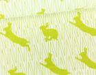 Feste Baumwolle - Doubleface - Hase - Kaninchen - Zickzack - Animal Tracks -  Kokka - Weißgrün Meliert/Grün