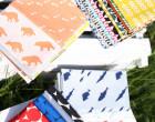 Feste Baumwolle - Doubleface - Hase - Kaninchen - Zickzack - Animal Tracks -  Kokka - Weißapricot Meliert/Apricot