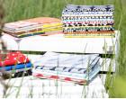 Feste Baumwolle - Doubleface - Fische - Wellen - Animal Tracks -  Kokka - Weiß Meliert/Grau