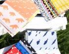 Feste Baumwolle - Doubleface - Fische - Wellen - Animal Tracks -  Kokka - Weißdunkelblau Meliert/Dunkelblau