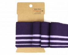 Bündchen - Boord Cuffs - Streifen - Aubergine/Lavendel