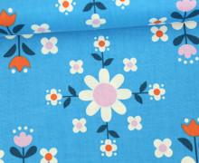 Stoff - Blumen - Kreise - Flowers - Kimberly Knight - Himmelblau