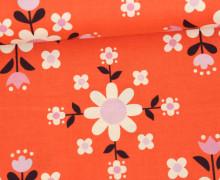 Stoff - Blumen - Kreise - Flowers - Kimberly Knight - Orangerot