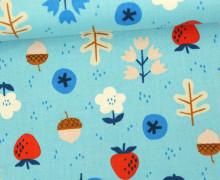 Stoff - Pflanzen - Blümchen - Erdbeeren - Kimberly Knight - Hellblau