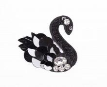 1 Aufnäher - Black Swan - Schwan - Strasssteine - Pailletten - schwarz/silber
