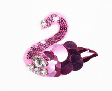 1 Aufnäher - Pink Swan - Schwan - Strasssteine - Pailletten - pink/silber