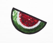 1 Aufnäher - Melone - klein - Pailletten