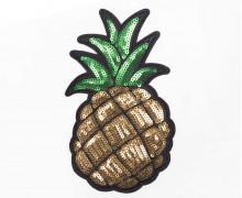 1 Aufnäher - Ananas - groß - Pailletten