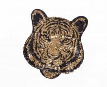 1 Aufnäher - Tigerkopf - Pailletten - gold/schwarz