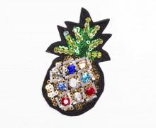 1 Aufnäher - Ananas - bunt - Perlen - Pailletten - Strasssteine