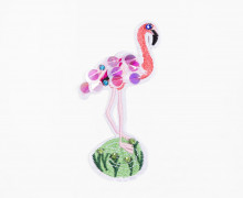 1 Aufnäher - Flamingo mit Melone - Strasssteine - Pailletten