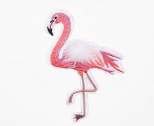 1 Aufnäher - Flamingo mit Kunstfell Minibommel