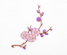 1 Aufnäher - Kirschblütenzweig - Kunstlederblüten - Strasssteine - lila/altrosa