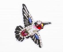 1 Aufnäher - Kolibri - klein - Pailletten - Perlen - Strasssteine