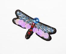 1 Aufnäher - Libelle - klein - Pailletten - Perlen - Strasssteine