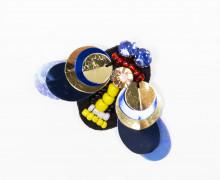1 Aufnäher - Fliege - klein - Pailletten - Perlen - Strasssteine