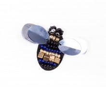 1 Aufnäher - Brummer - Käfer - klein - Pailletten - Perlen - Strasssteine