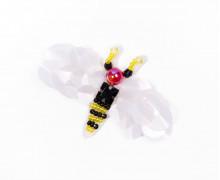 1 Aufnäher – Wespe – klein – Pailletten – Perlen – Strasssteine