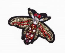 1 Aufnäher - Kleiner Falter - Käfer - Perlen - Strasssteine - schwarz/rot/gold