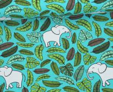 Sommersweat - Happy Elephants - Elefanten - Blätter - Türkis