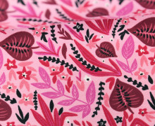Jersey - Dschungelpflanzen - Dschungel - Jungle - Blumen - Blätter - Around the World - Rosa