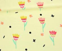 Jersey - Blumen - Ethno Spirit - Pastellgelb