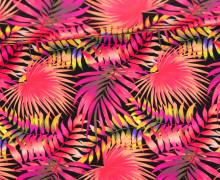 Badestoff - Swimwear - Blätter - Leaves - Schwarz/Neonpink
