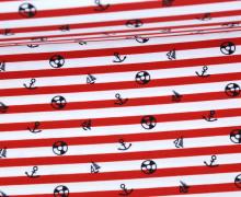 Badestoff - Swimwear - Anker - Streifen - Maritim - Rot/Weiß