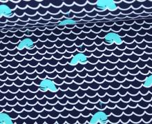 Badestoff - Swimwear - Wale - Wellen - Schwarzblau